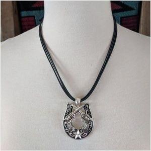 Horseshoe Cross Guns Cord Necklace